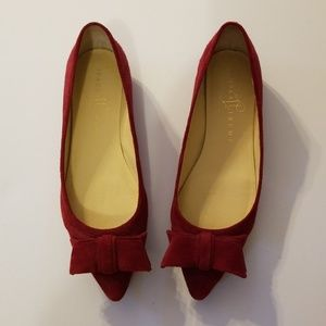 Ivanka Trump Red Suede Bow Flats, Size 6